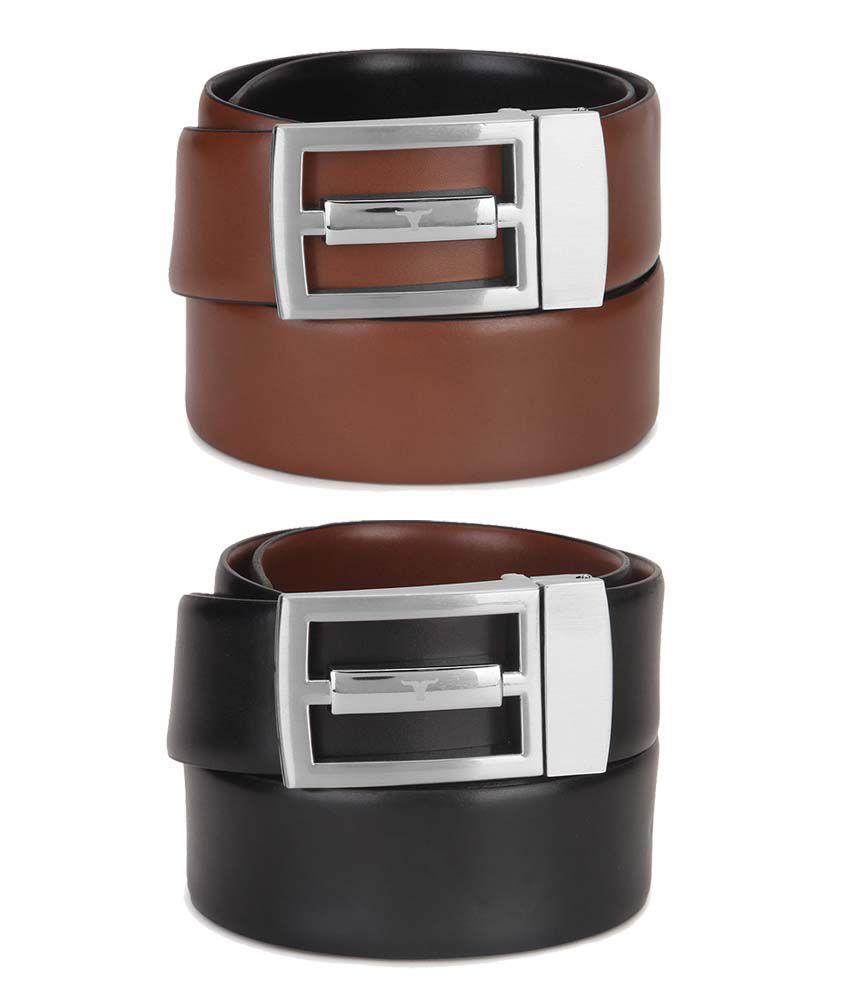 Bulchee Black & Brown Formal Belt - Set Of 2