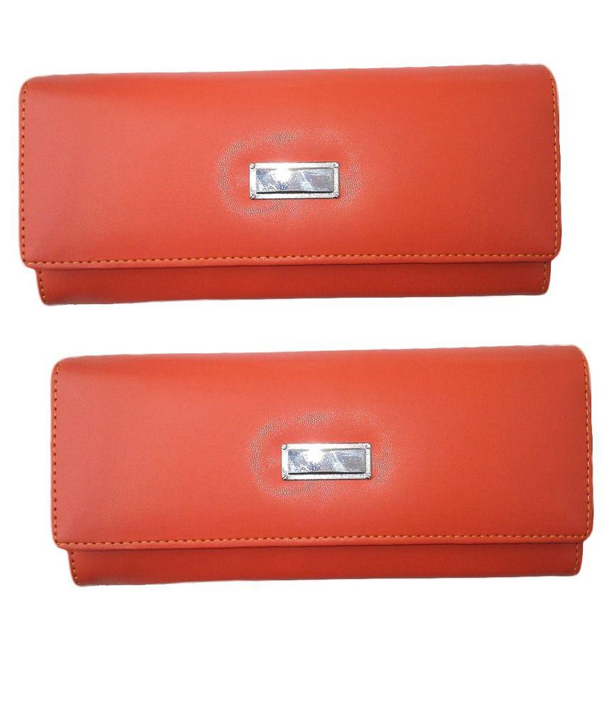 Alifs Orange Regular Wallet For Women - Pack Of 2