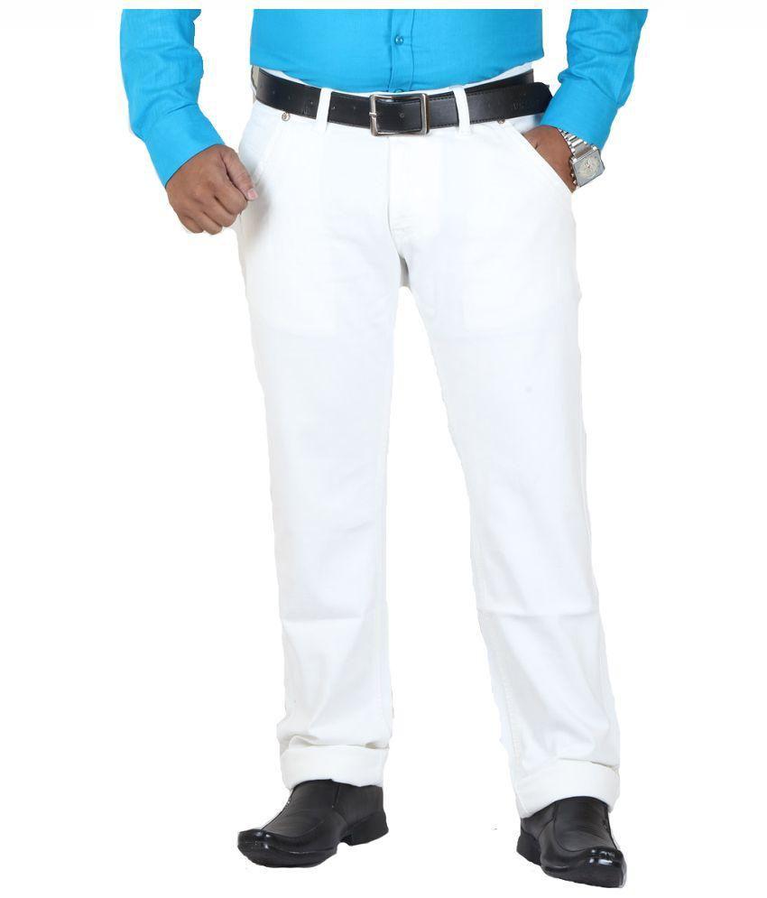 GetAbhi White Regural Fit Jeans