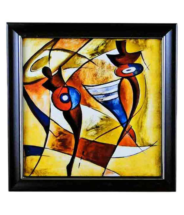 Go Hooked Multicolour Wooden Abstract Painting With Frame