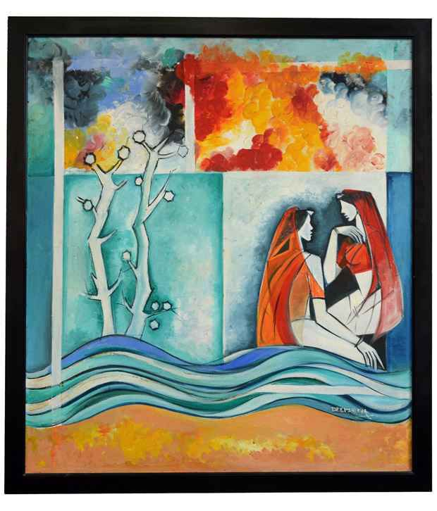 Rangvas Sea Green Wooden Oil Painting With Frame