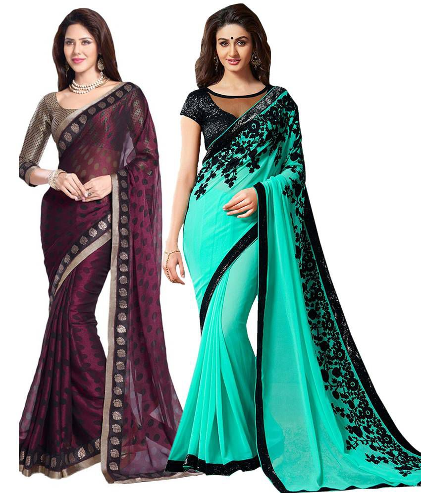 Asha Fashion Green And Maroon Georgette And Chiffon Pack Of 2