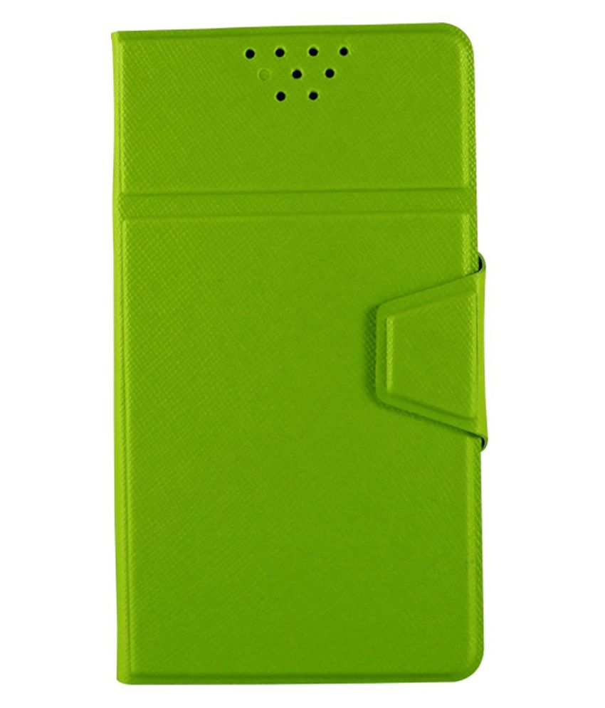 Molife Universal Flip Cover For Nubia Z9 Mini - Florocent Green