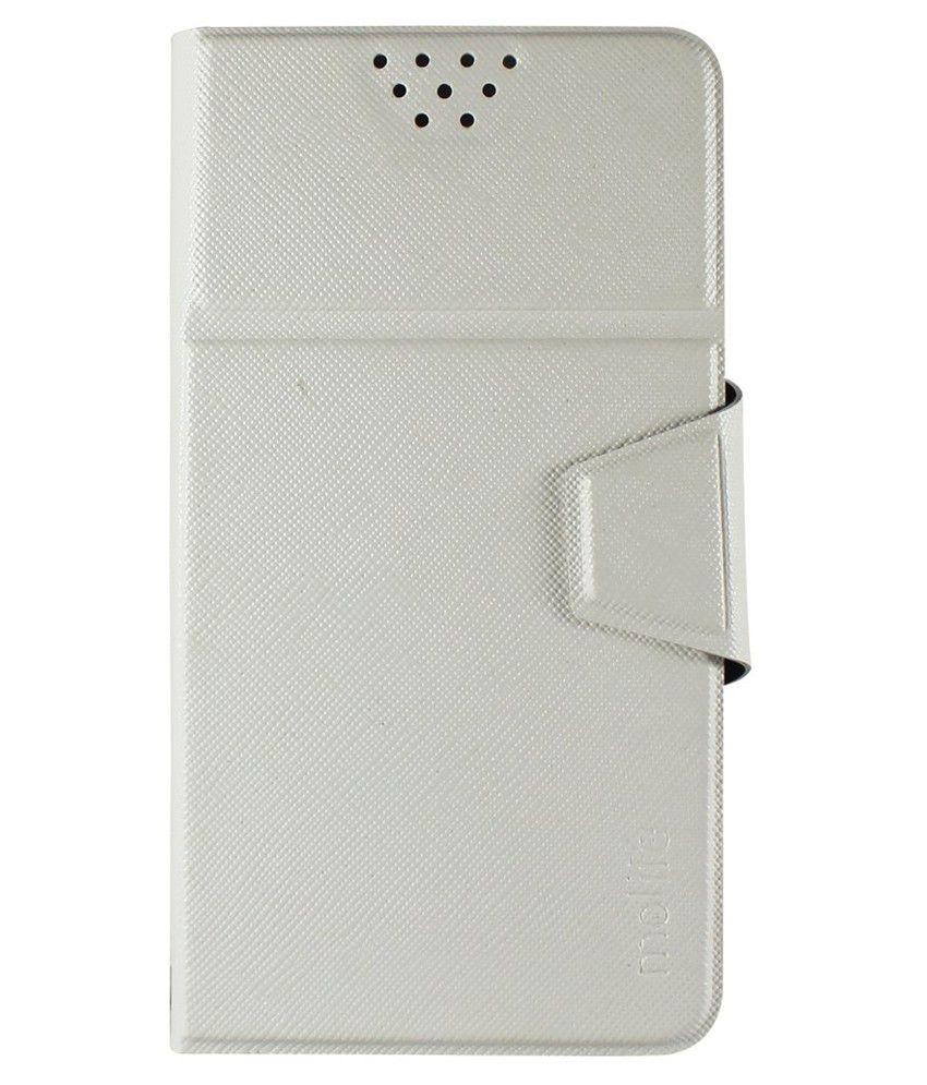 Molife Universal Flip Cover For Panasonic Eluga Mark - White