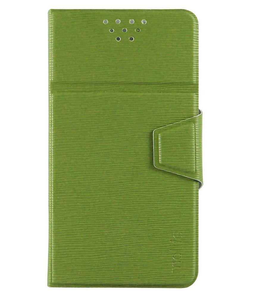 Molife Universal  Flip Cover For Videocon Z55 Dash - Green