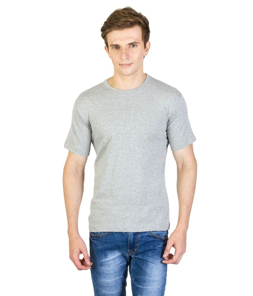 Real Fashion Grey Cotton Blend T-shirt