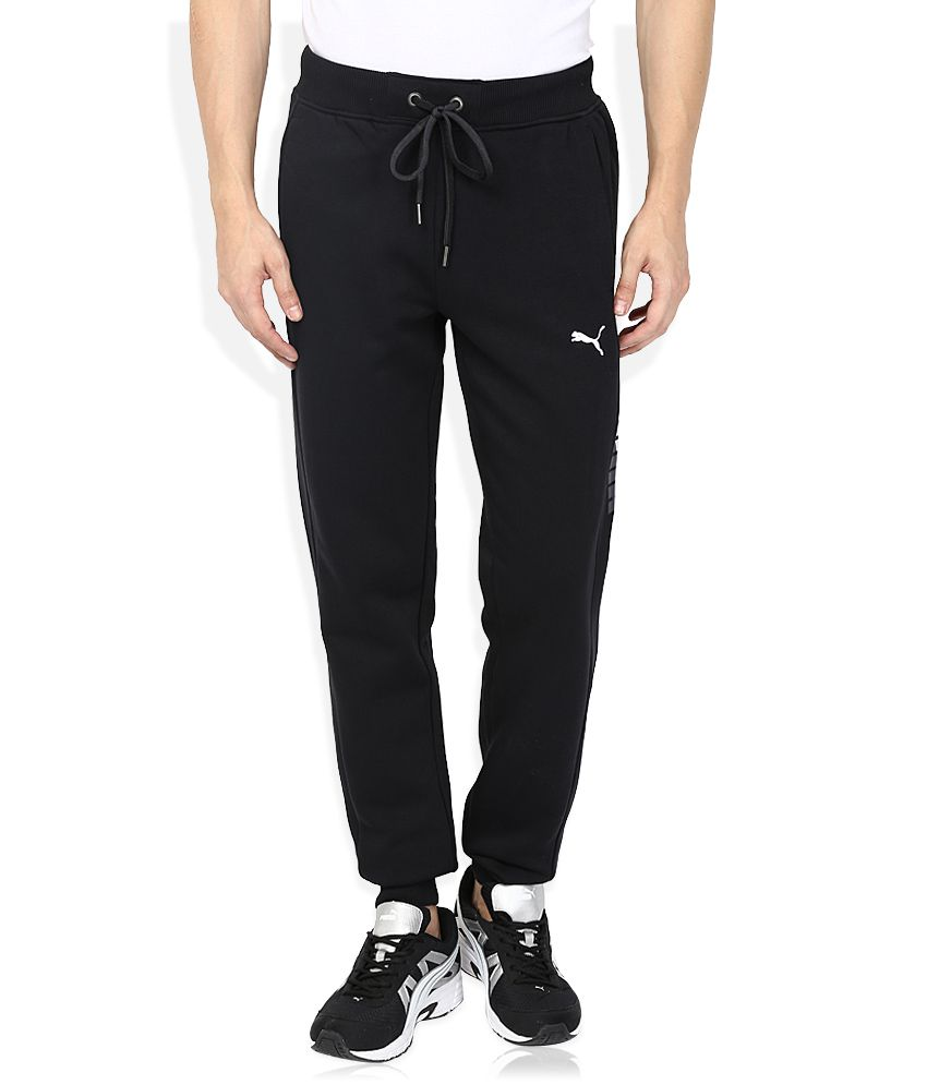 Puma Black Cotton Blend Trackpants