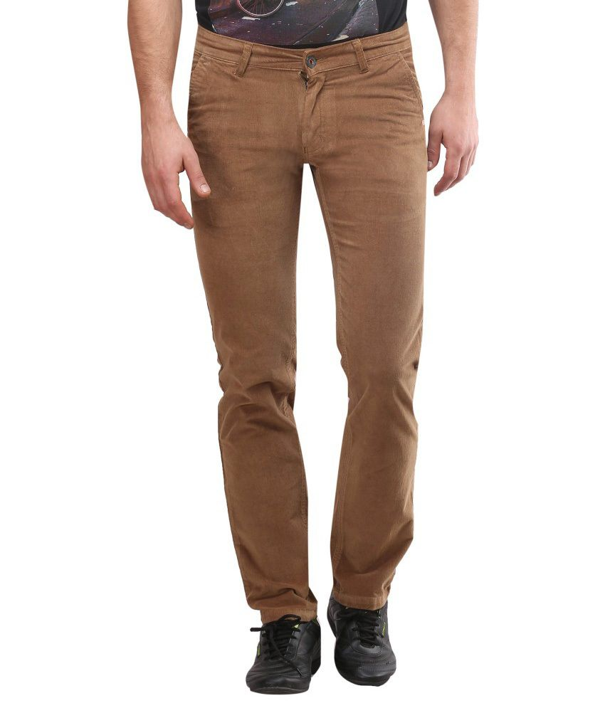 Blumerq Brown Slim Fit Casual Chinos