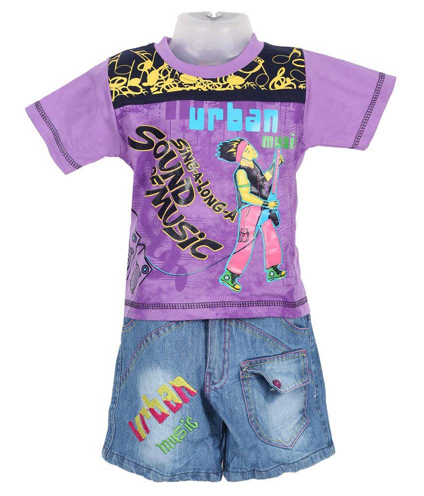 Shinchan Purple And Blue Cotton Top And Bottom Set For Boy