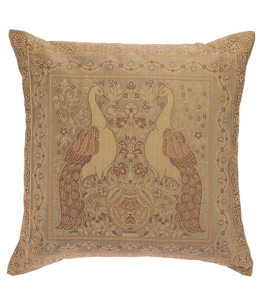 Recrafto Beige Silk Cushion Cover