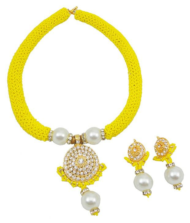 Fashionvalley Yellow Jeko Moti Diamond Pendant Necklace Set for Women