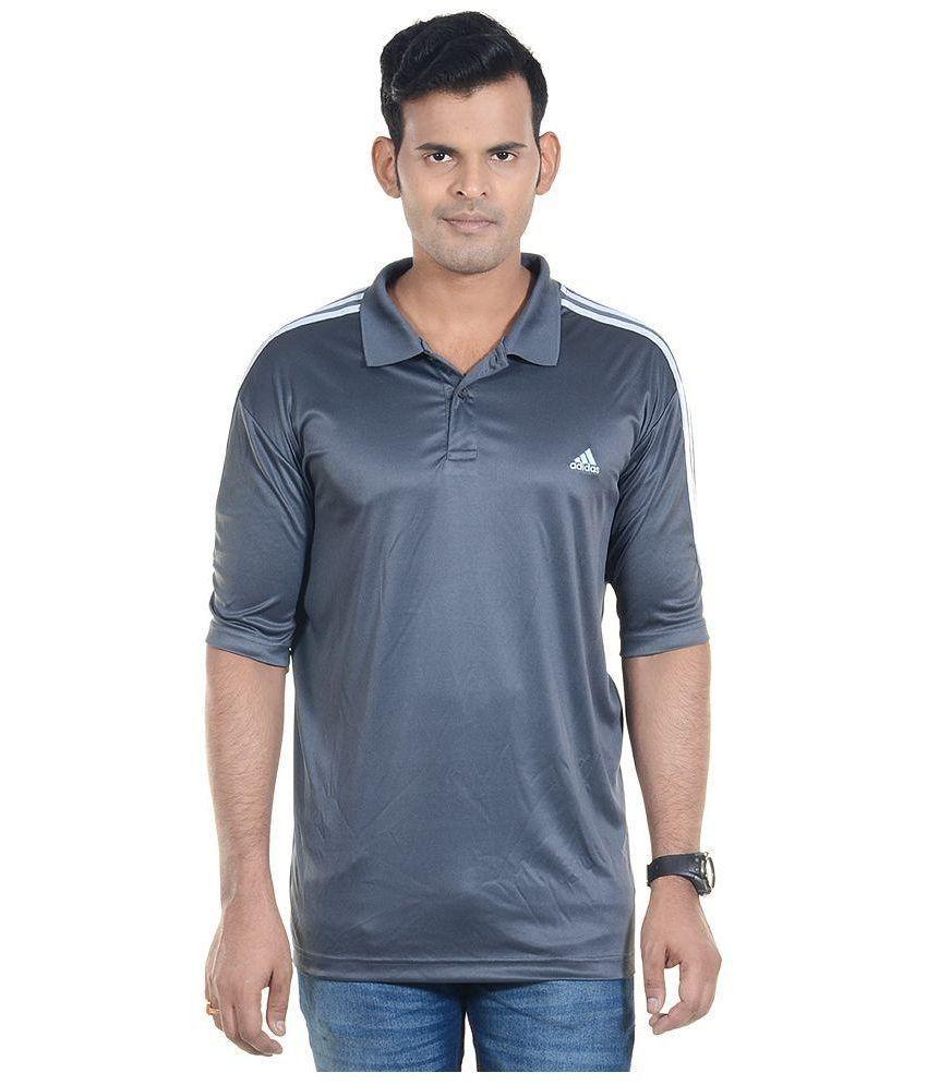 Adidas Grey Half Sleeves Polo T-Shirt