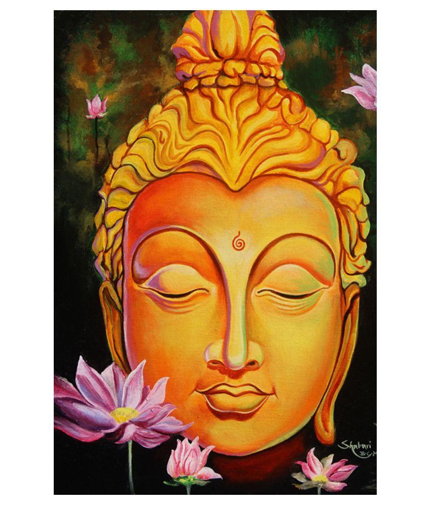 Buttistore Yellow Acrylic Buddha Painting