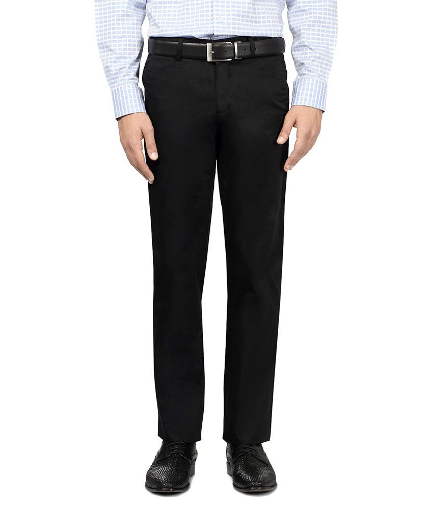 Friends Collection Black Regular Fit Formal Flat Trouser