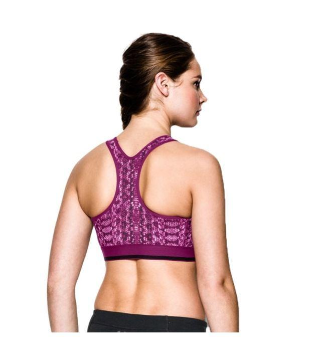 Under Armour Under Armour Women's Heatgear Alpha Printed Sports Bra, Hyper Green/double Swerve