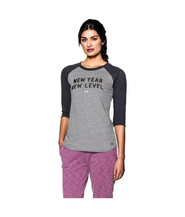 Under Armour Under Armour Women's Charged Cotton Tri-blend New Year Raglan Three Quarter Length Sleeve Shirt, True Gray Heather/tgh