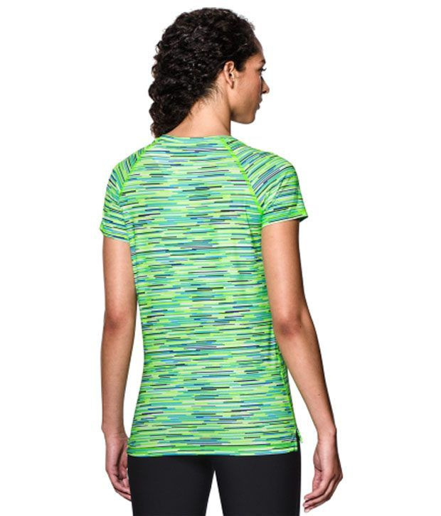 Under Armour Under Armour Women's Heatgear Armour Printed Mesh V-neck T-shirt, Graphite Graphic Melange
