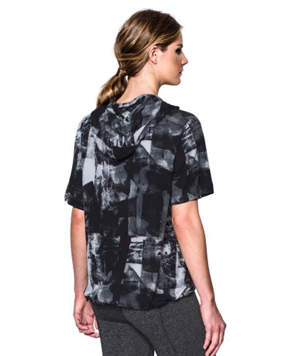 Under Armour Under Armour Women's Essential Printed Short Sleeve Hoodie, Black Collage