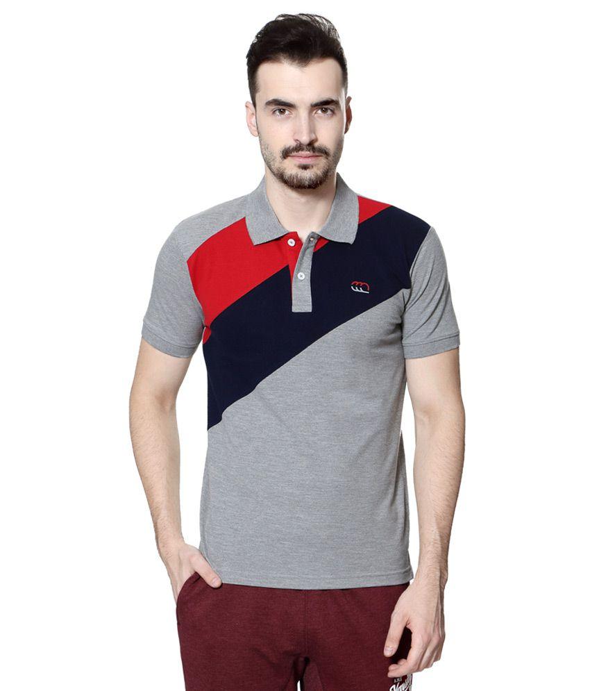 Ajile by Pantaloons Grey Polo Neck T Shirt