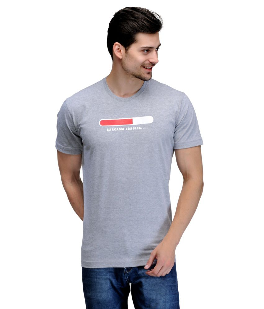 Rootstock Grey Cotton Graphic Round Neck T-shirt