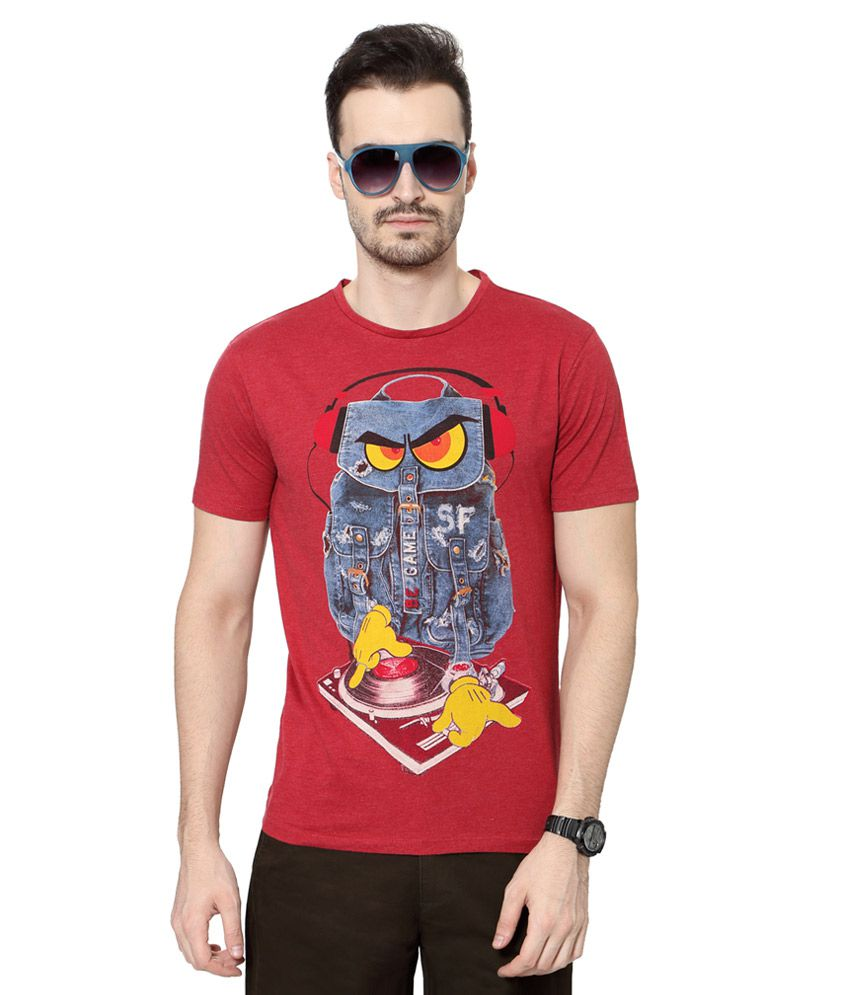 SF Jeans by Pantaloons Red Round Neck T Shirt