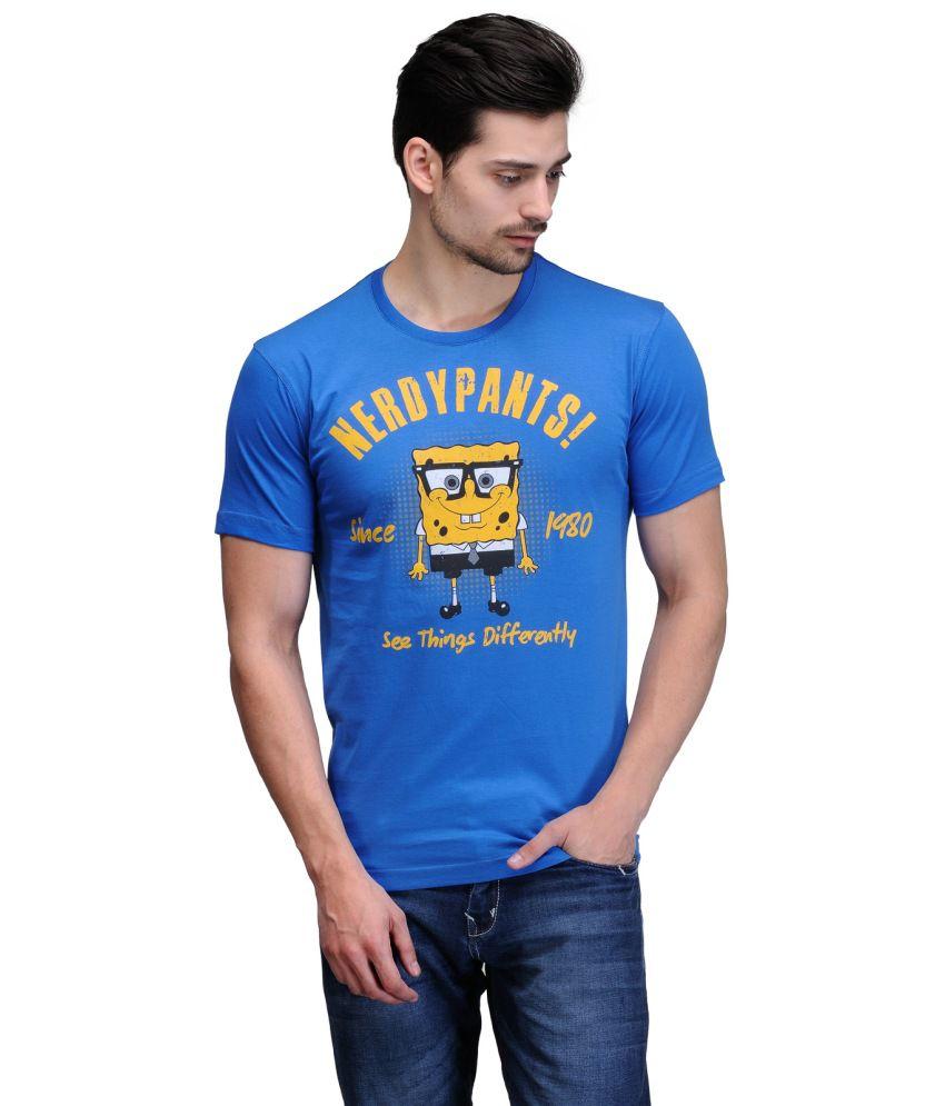Slingshot Blue And Yellow Cotton Sponge Bob Trendy Graphic T-shirt