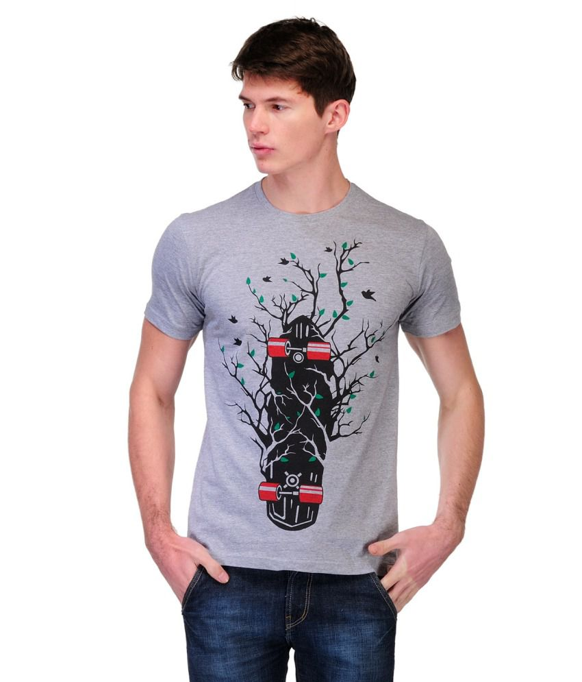 Slingshot Grey And Black Cotton Round Neck T-shirt With A Trendy Graphic
