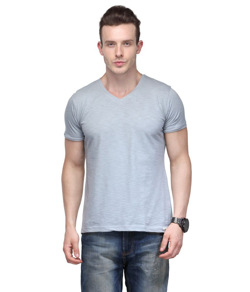 Slingshot Grey Cotton V Neck T-shirt With A Trendy Graphic