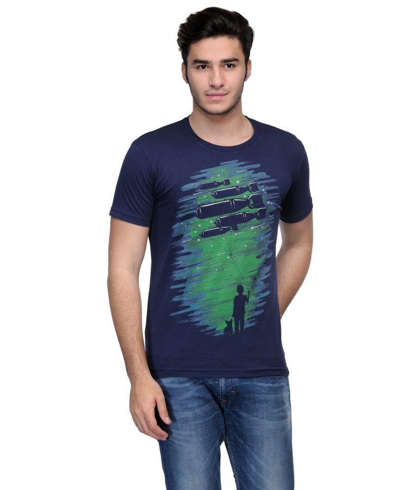 Slingshot Navy Cotton Trendy Graphic Round Neck T-shirt