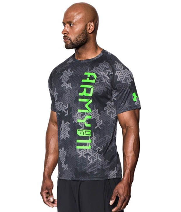 Under Armour Men's Army Of 11 Camo T-Shirt, Black/Hyper Green