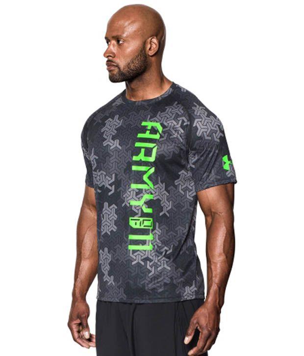 Under Armour Men's Army Of 11 Camo T-Shirt, Black/Hyper Green