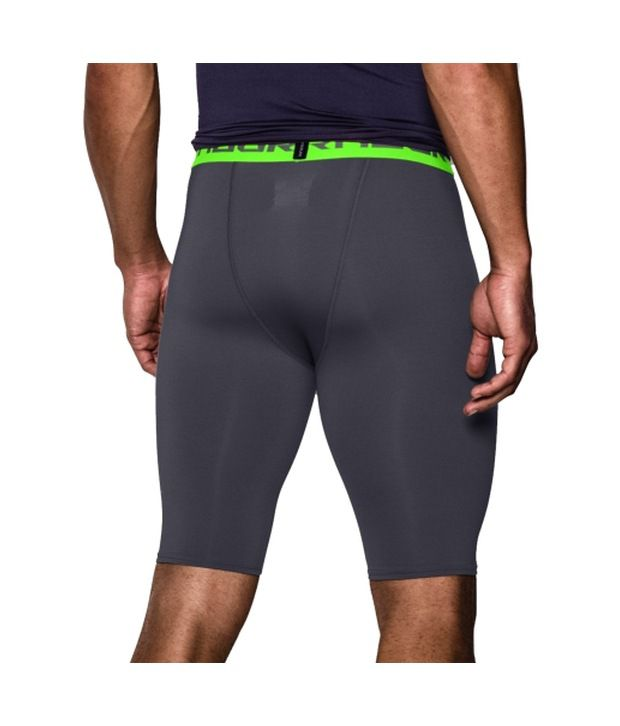 Under Armour Men's HeatGear Armour Compression Shorts - Long Stealth Gray/Hyper Green