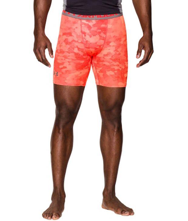 Under Armour Men's HeatGear Armour Printed Compression Shorts, Bolt Orange/Graphite