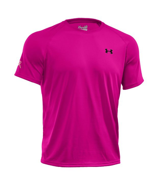 Under Armour Men's Power in Pink Tech T-Shirt, Tropic Pink/Black
