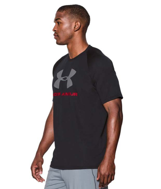 Under Armour Men's Tech Sportstyle Logo T-Shirt, True Gray Heather/Black