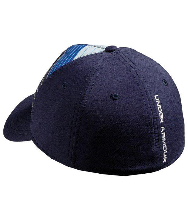 Under Armour Under Armour Men's Stripe Logo Stretch Fit Hat, Steel/bolt Orange