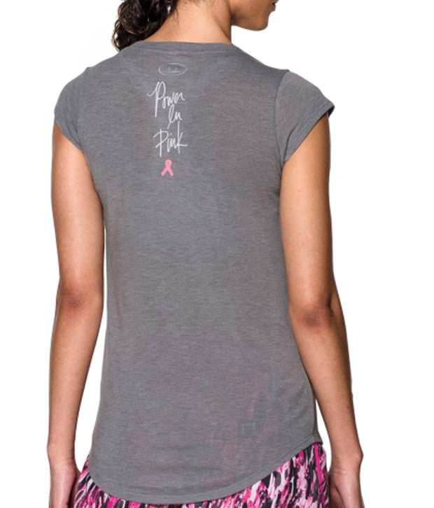 Under Armour Under Armour Women's Power In Pink Big Ribbon Graphic T-shirt, True Grey Heather