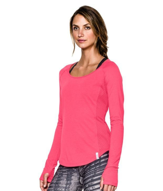 Under Armour Women's Fly-By Long Sleeve Shirt, Pink Shock