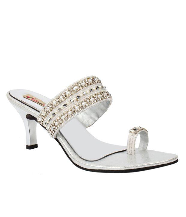 Foot Candy Silver Heels Slip Ons