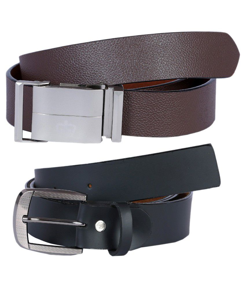 Hardys Collection Brown And Black Leather Formal Belt For Men - Pack Of 2