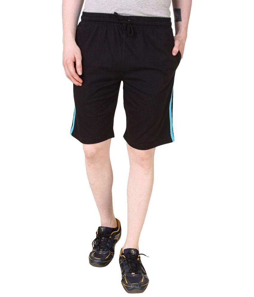 Jack Wear Black & Blue Solid Polyester Shorts