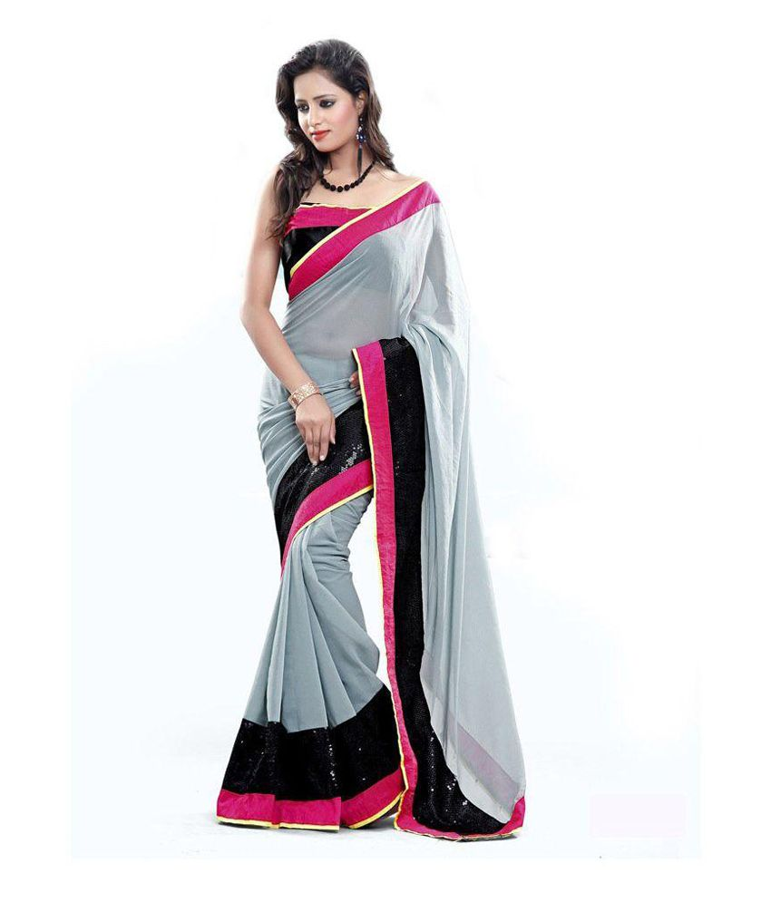 Lucky Gray Faux Georgette Saree