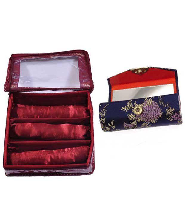 Adinan Handmade Satin Made Bangle Box Of 3 Row with Lipstick Case Holder Box (1 Piece)