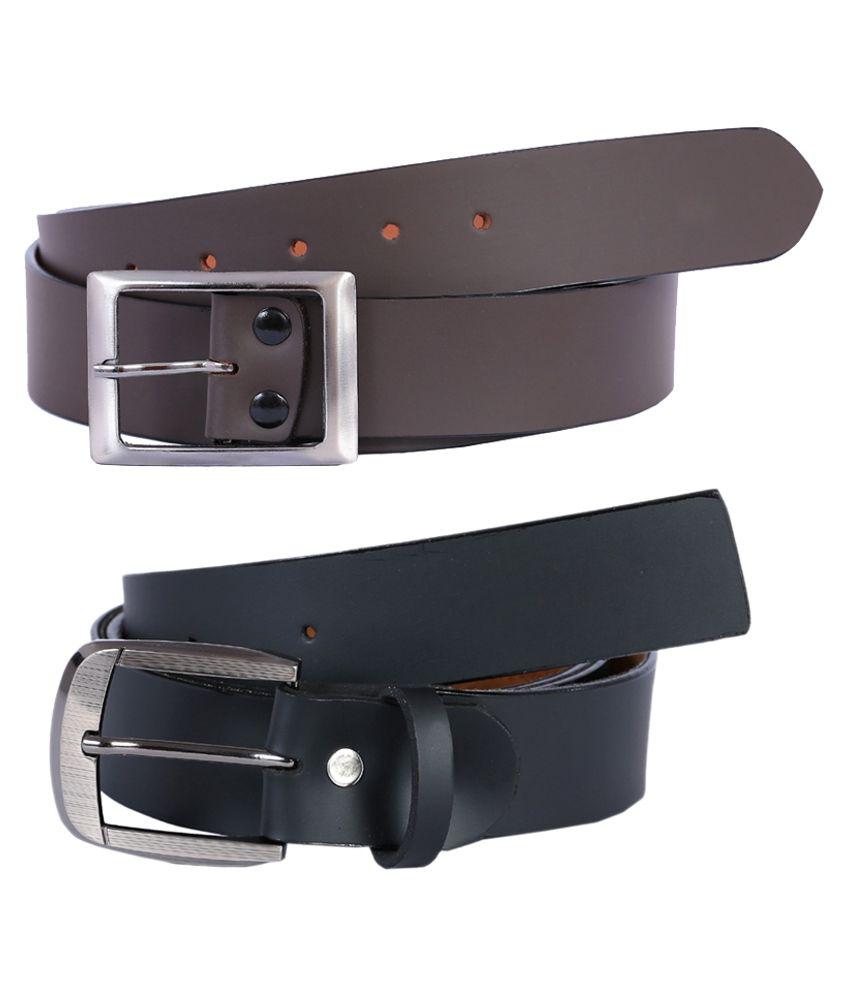 Kritika World Black And Brown Formal Belt For Men - Pack Of 2