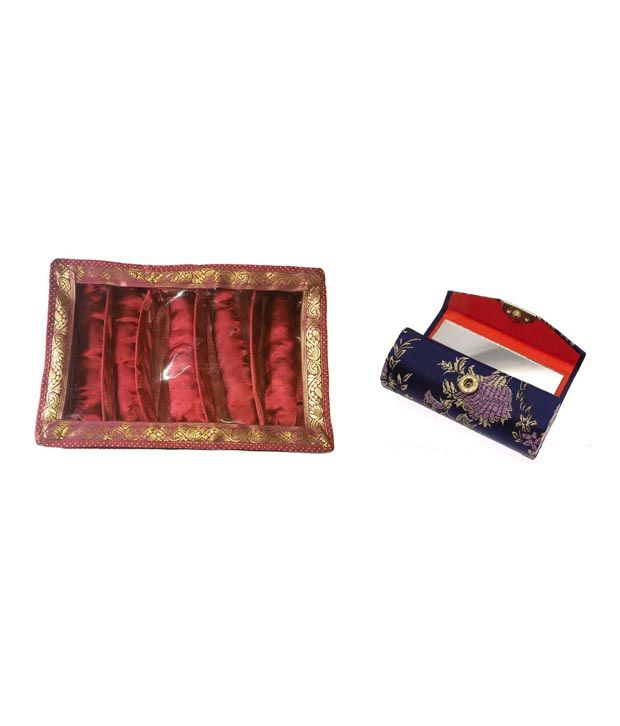 Luv Kush Handmade Designer Satin Made Bangle Box Of 5 Row with Lipstick Case Holder Box (1 Piece)