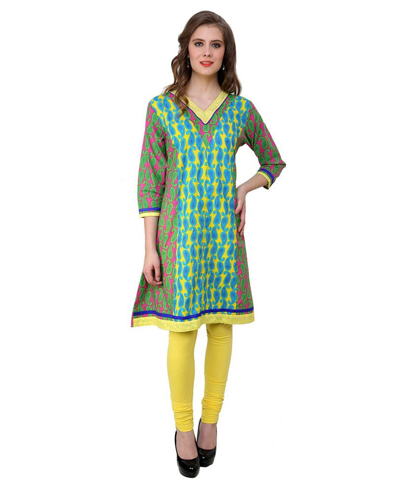 Rangeelo Rajasthan Yellow A - Line Cotton Kurti