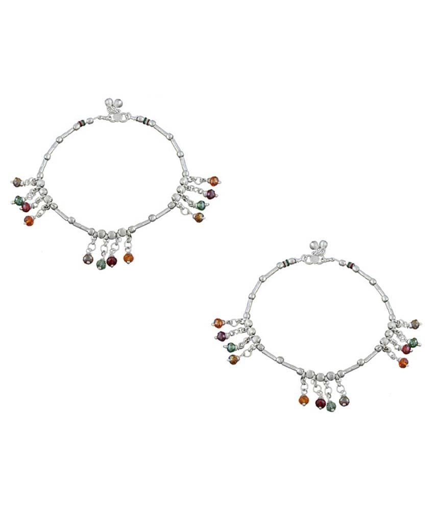 Anuradha Art Multicolour Copper Pair Of Anklet