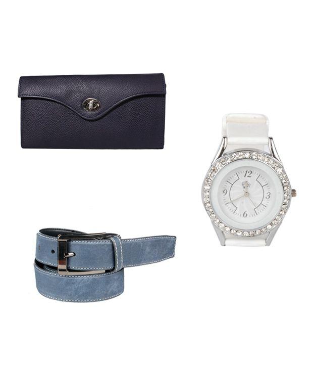 Klaska Combo of Women's Leather Wallet, Wrist Watch & Men's Leather Belt