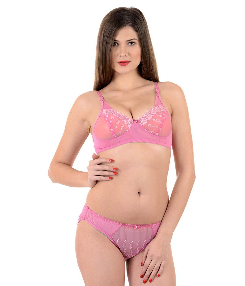 8831f7b39 Buy Mynte Pink Net Bra   Panty Sets Online at Best Prices in India -  Snapdeal