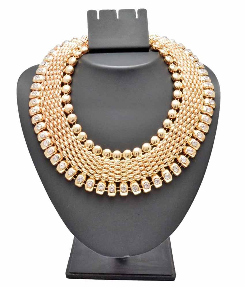 Shopaholic Fashion Golden Alloy Necklace